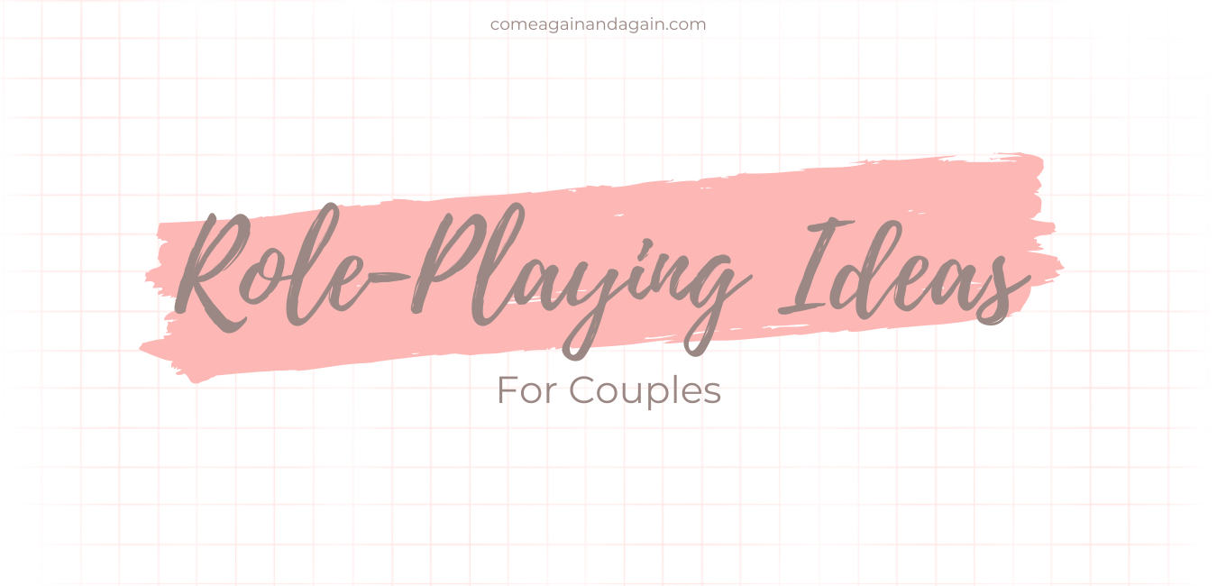 Text role playing ideas for couples over a pink grid background and swipe of paint