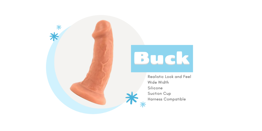 realistic white flesh colored dildo with veining in front of light gray circle background with title buck and description