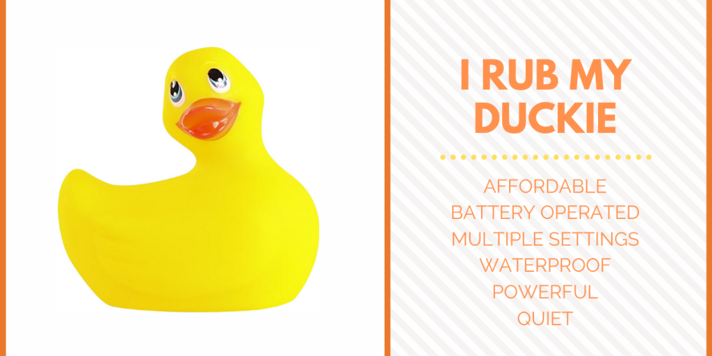 Title I RUB MY DUCKIE with description and photo graph of discreet vibrator that looks like a rubber duck bath toy