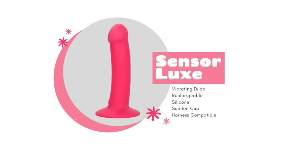 hot pink vibrating dildo in front of a gray circle background with title sensor luxe and description